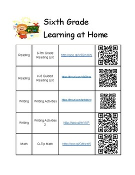 6th Grade Summer Learning Activities