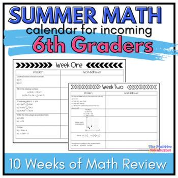 6th Grade Summer Math Review Calendar