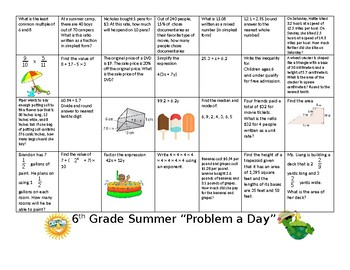 "6th Grade Summer ""Problem a Day"""