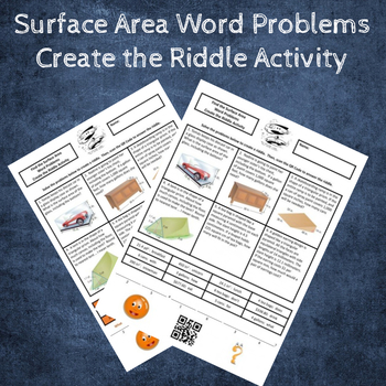 6th Grade Surface Area Word Problems Create a Riddle Activity