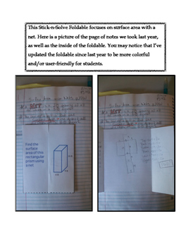 6th Grade Surface Area with Nets Lesson: FOLDABLE & Homework