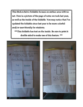 6th Grade Surface Area without Nets Lesson: FOLDABLE & Homework