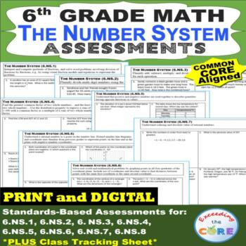 6th Grade THE NUMBER SYSTEM Assessments (6.NS) Common Core