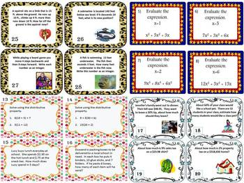 Middle School Math Task Card Bundle