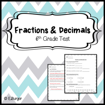6th Grade Test - Fractions and Decimals Unit