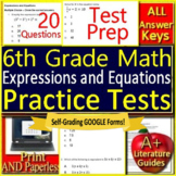 6th Grade Math Unit 3: Expressions + Equations Standardized Grade 6 Test Prep