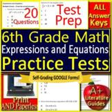 6th Grade Math Expressions + Equations Digital Test - Printable & SELF-GRADING!