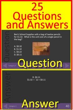 6th Grade Test Prep Math Game #2 Spiral Review CCSS Smarter Balanced