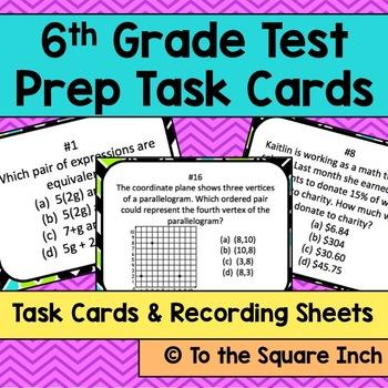 6th Grade Math Test Prep Task Cards