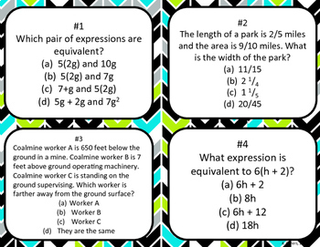 6th Grade Math Test Prep Task Cards
