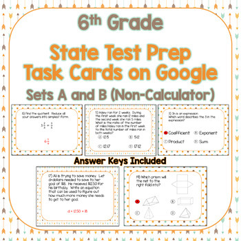 6th Grade Test Prep Task Cards Using Google