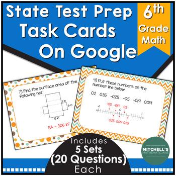 6th grade Math Test Prep Task Cards Using Google