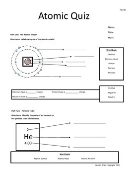 6th Grade Test on Atoms and the Periodic Table - 3 tests bundled