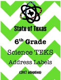 Texas 6th Grade Science TEK Labels