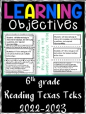 6th Grade Texas TEKS Reading/ Writing Learning Objectives Cards