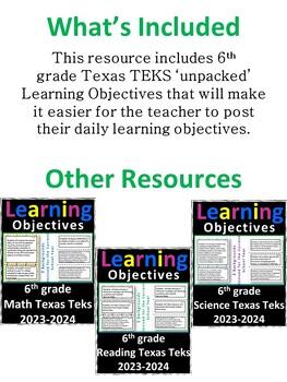 6th Grade Texas TEKS Social Studies Learning Objectives Cards