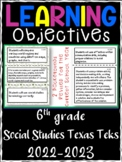 6th Grade Texas TEKS Social Studies Learning Objectives Ca
