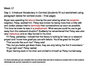 6th Grade Tier 2 Vocabulary Week 17