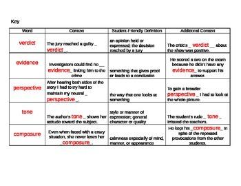 6th Grade Tier 2 Vocabulary Week 20