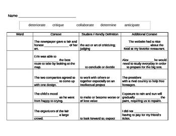 6th Grade Tier 2 Vocabulary Week 7