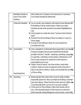6th Grade Unit 1 Session 5