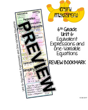 6th Grade Unit 6 Review Bookmark
