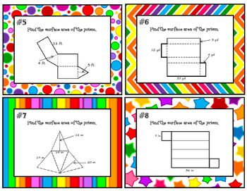 Gr. 6 Using Nets to Find Surface Area of Prisms & Pyramids Task Cards 6.G.A.4