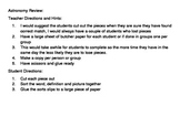 6th Grade Utah Astronomy Vocabulary Sort