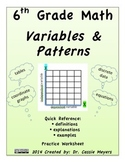 6th Grade Variables & Patterns Quick Reference and Practice