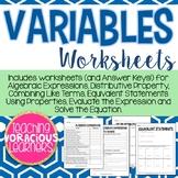 Middle School Variables Worksheets Packet