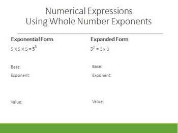 6th Grade Variables and Expressions Notes Set