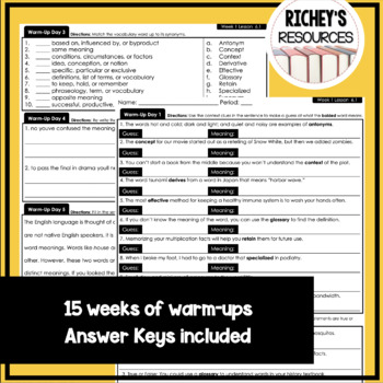 6th Grade Vocabulary For Achievement Weekly Warm-ups 1-15
