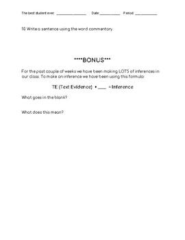 6th Grade Vocabulary Quiz