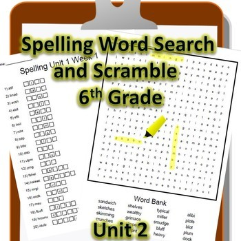 6th Grade WONDERS Spelling Word Search and Scramble -- Unit 2 (Differentiated)
