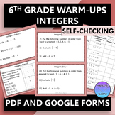 6th Grade Warm Ups Integers PDF and Google Forms
