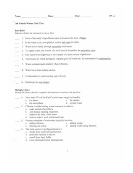 6th Grade Water and Oceans Unit Test