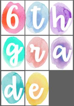 6th Grade Watercolor Signs