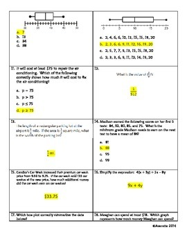 6th Grade Review 6: 6.NS.1&3; 6.EE.1,2,4,8,9; 6.SP.4&5