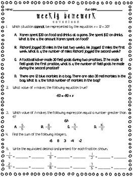 6th Grade Weekly Homework - 28 Homework Pages!