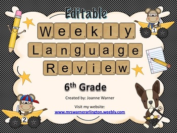 6th Grade Weekly Language Review Editable