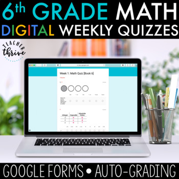 6th Grade Weekly Math Assessments [DIGITAL] Distance Learning