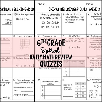 6th Grade Weekly Spiral Bellringer Quizzes