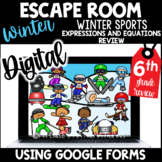 6th Grade Winter Digital Escape Room | Expressions and Equations | Winter Sports