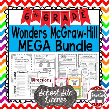 6th Grade Wonders McGraw Hill Reading *** MEGA Bundle *** SCHOOL SITE LICENSE