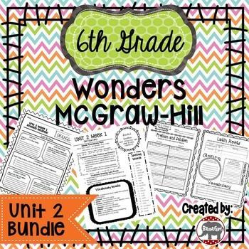 6th Grade Wonders McGraw Hill Reading *** Unit 2 Bundle ***