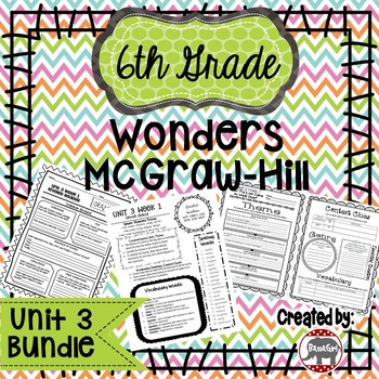 6th Grade Wonders McGraw Hill Reading *** Unit 3 Bundle ***
