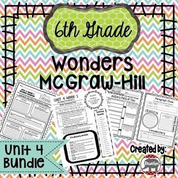 6th Grade Wonders McGraw Hill Reading *** Unit 4 Bundle ***