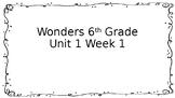 6th Grade Wonders-Unit 1 Week 1 Centers