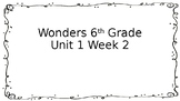 6th Grade Wonders-Unit 1 Week 2 Centers