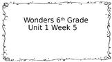 6th Grade Wonders-Unit 1 Week 5 Centers